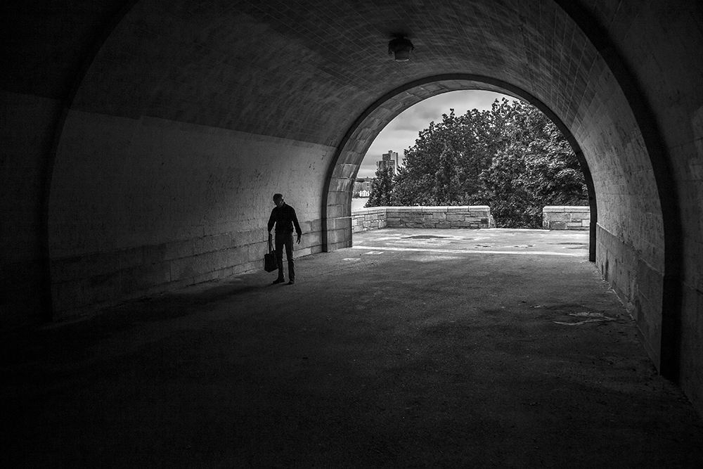 Man in a Tunnel, Central Park, NYC
