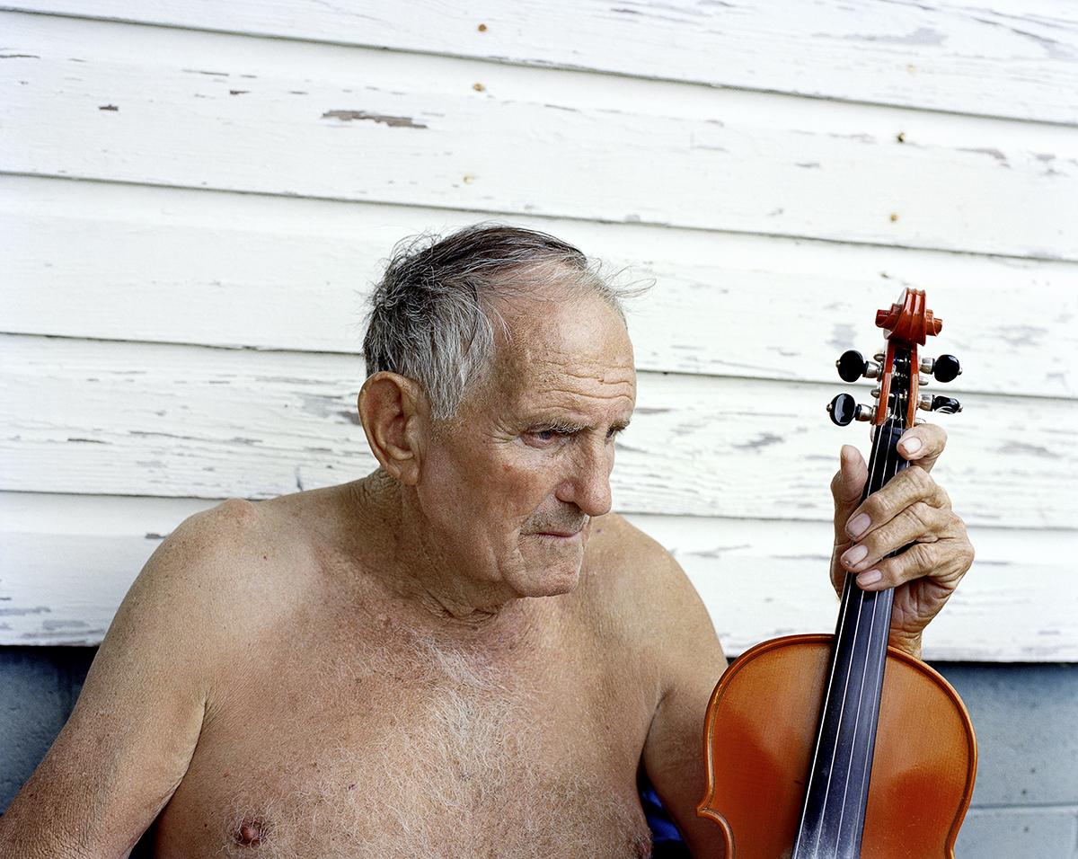 Fiddling Charlie McCarroll at Home. Harriman, TN. 2014.