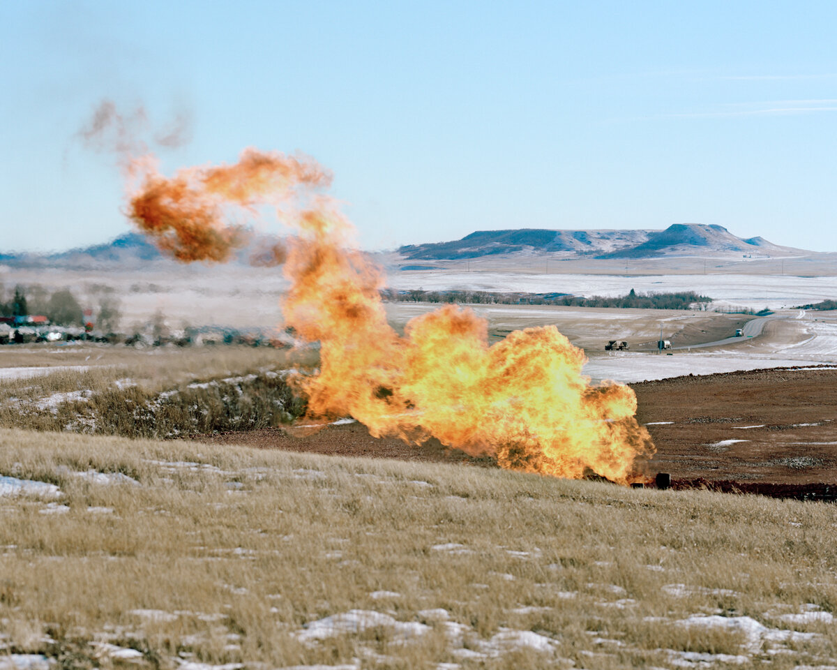 Flaring near the Blue Buttes, January 2015  Natural gas is being flared off in North Dakota due to a lack of infrastructure. Before new policies were adopted in 2014, upwards of 30% was being burned and wasted.