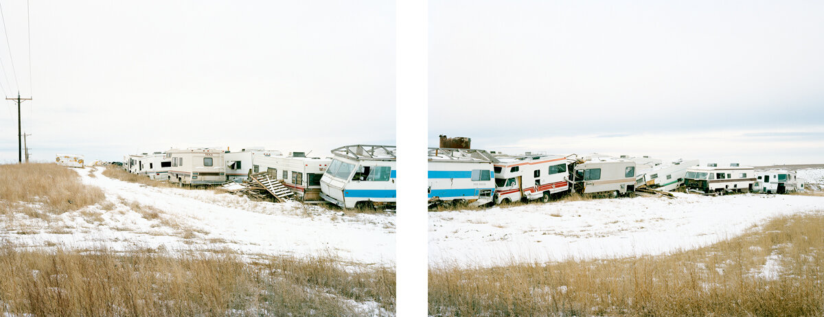 TJ's Salvage Yard, February 2016  After the Bakken Boom experienced its first bust in 2014, many oilfield workers simply walked away and abandoned their makeshift housing. Scores of RVs and trailers were towed from the region's man camps to this salvage yard on Highway 85, just south of Williston.
