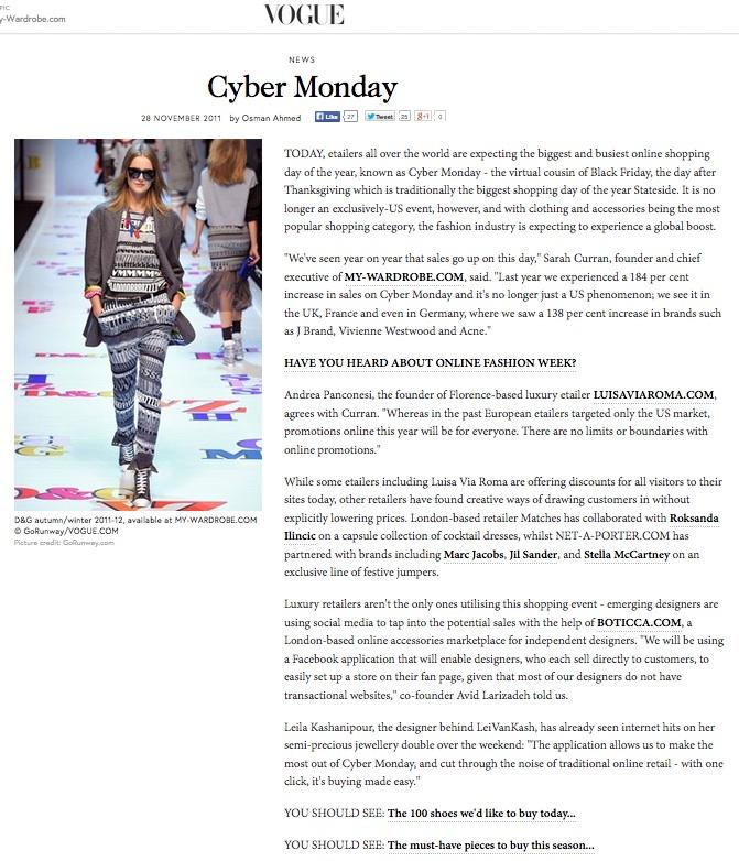 Cyber Monday, VOGUE