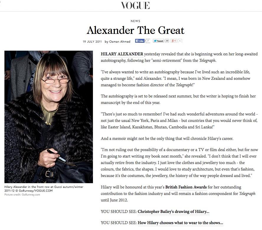 Alexander The Great, VOGUE