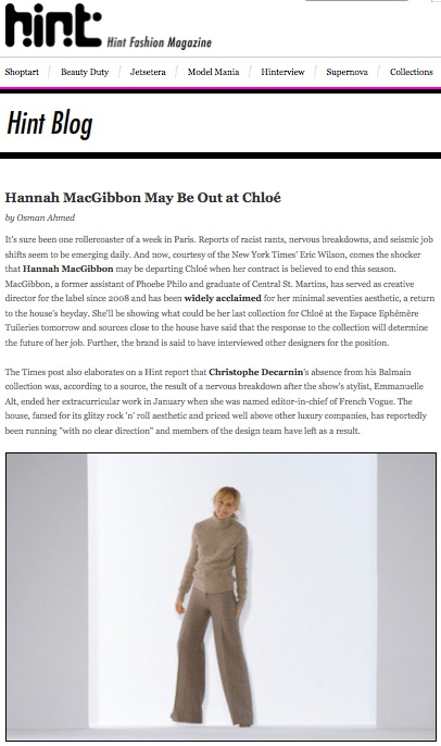 Hannah McGibbon Leaves Chloé, Hintmag