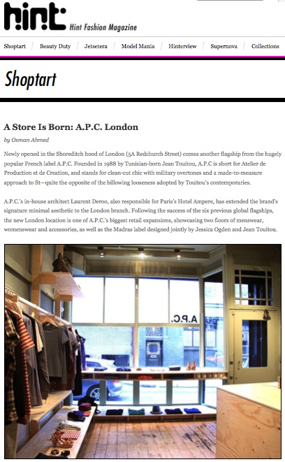 A Store Is Born: A.P.C. London, Hintmag