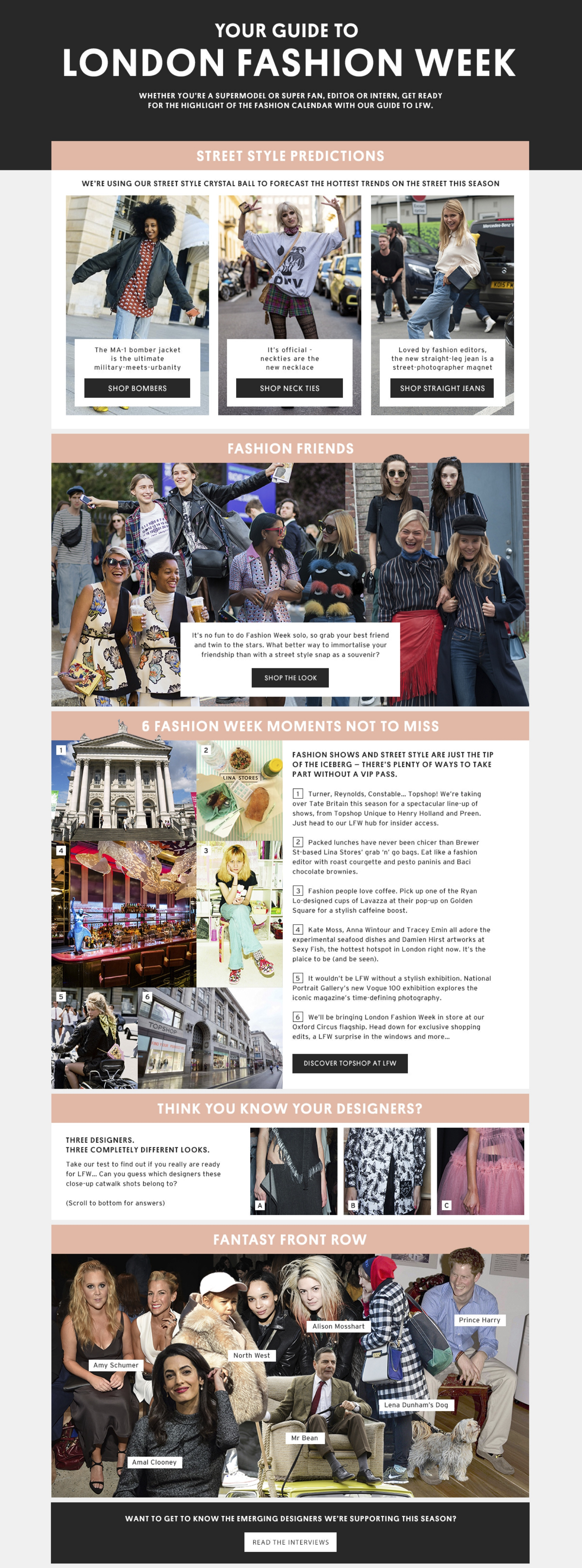 Guide to LFW, Tophop