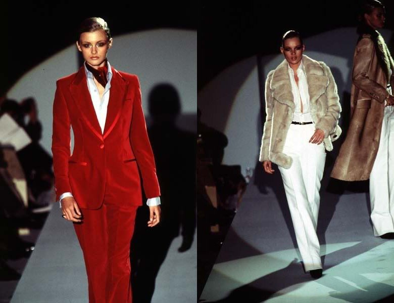 Tom Ford Gucci Red Velvet Suit Fur AW97