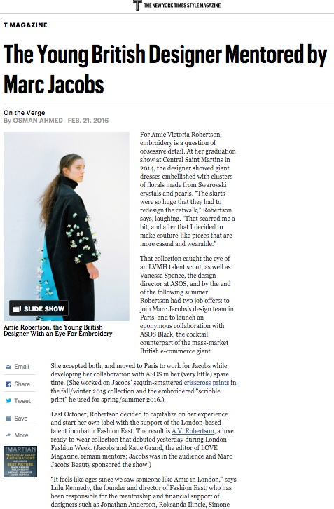 Amie Victoria Robertson, T: New York Times Style