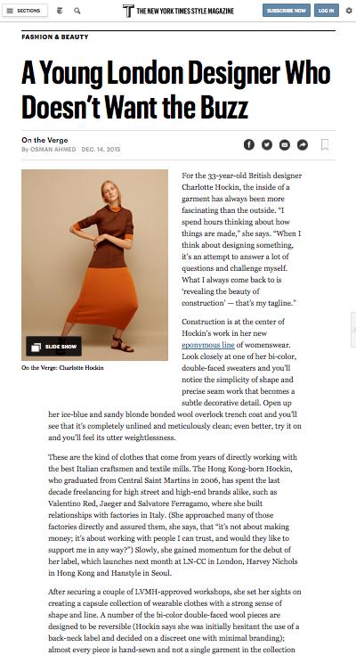 Hockin, T: New York Times Style