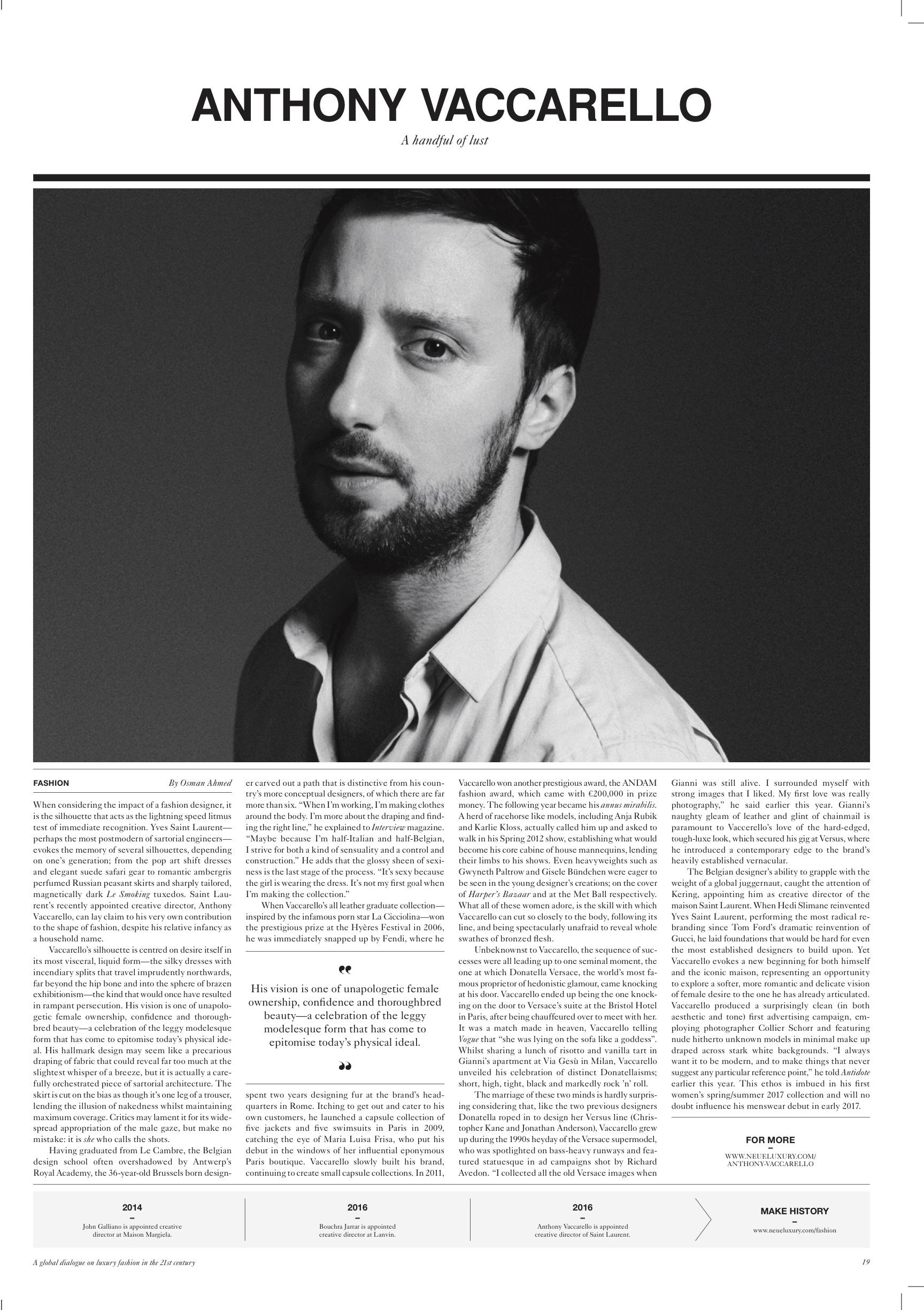 Anthony Vaccarello, Neue Luxury