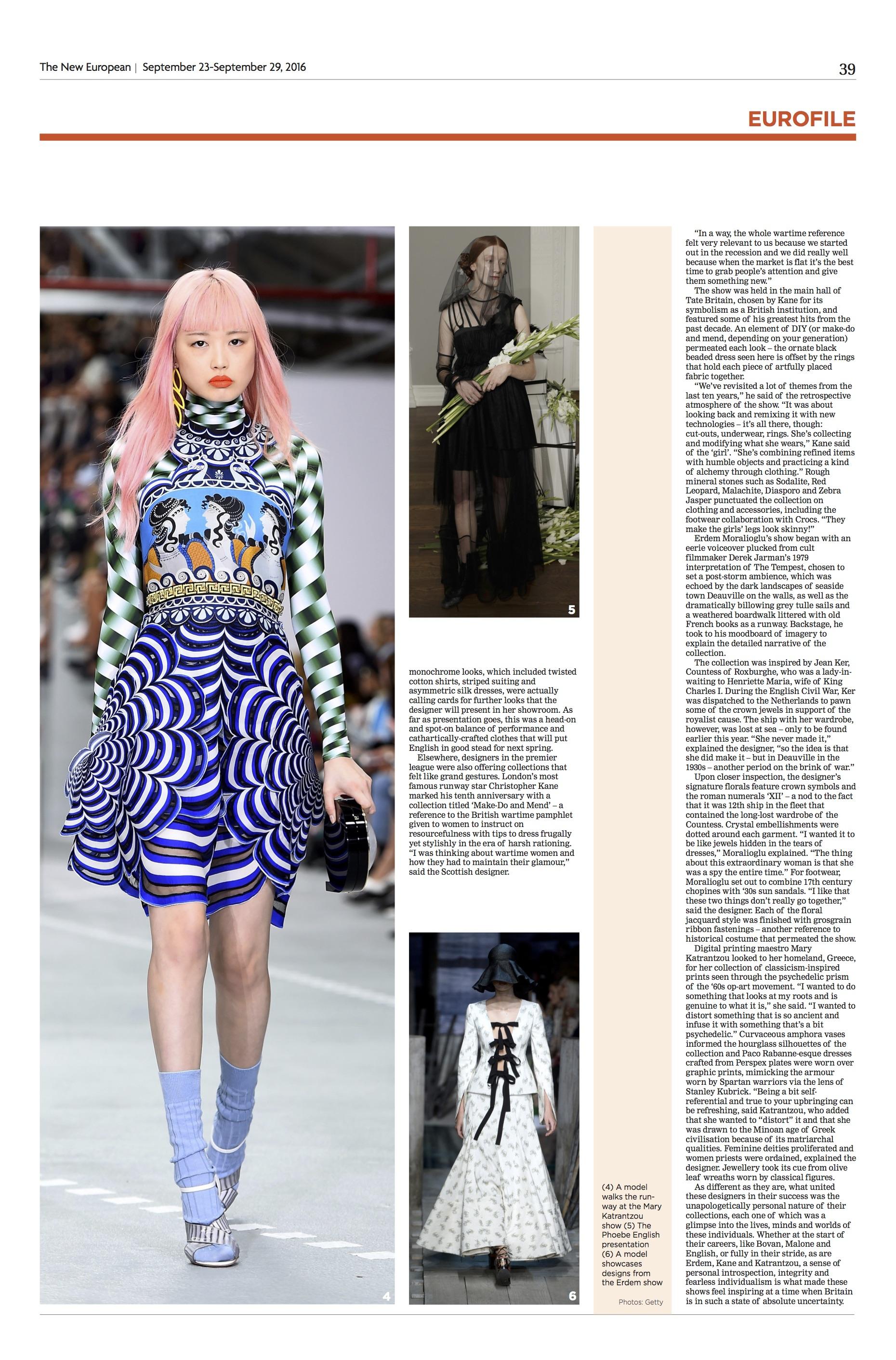 Fashion Column: LFW, The New European