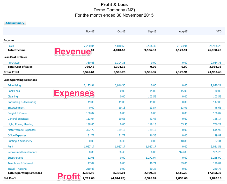 Xero Profit and Loss for Startups shows some simple math on an incurred/earned basis.