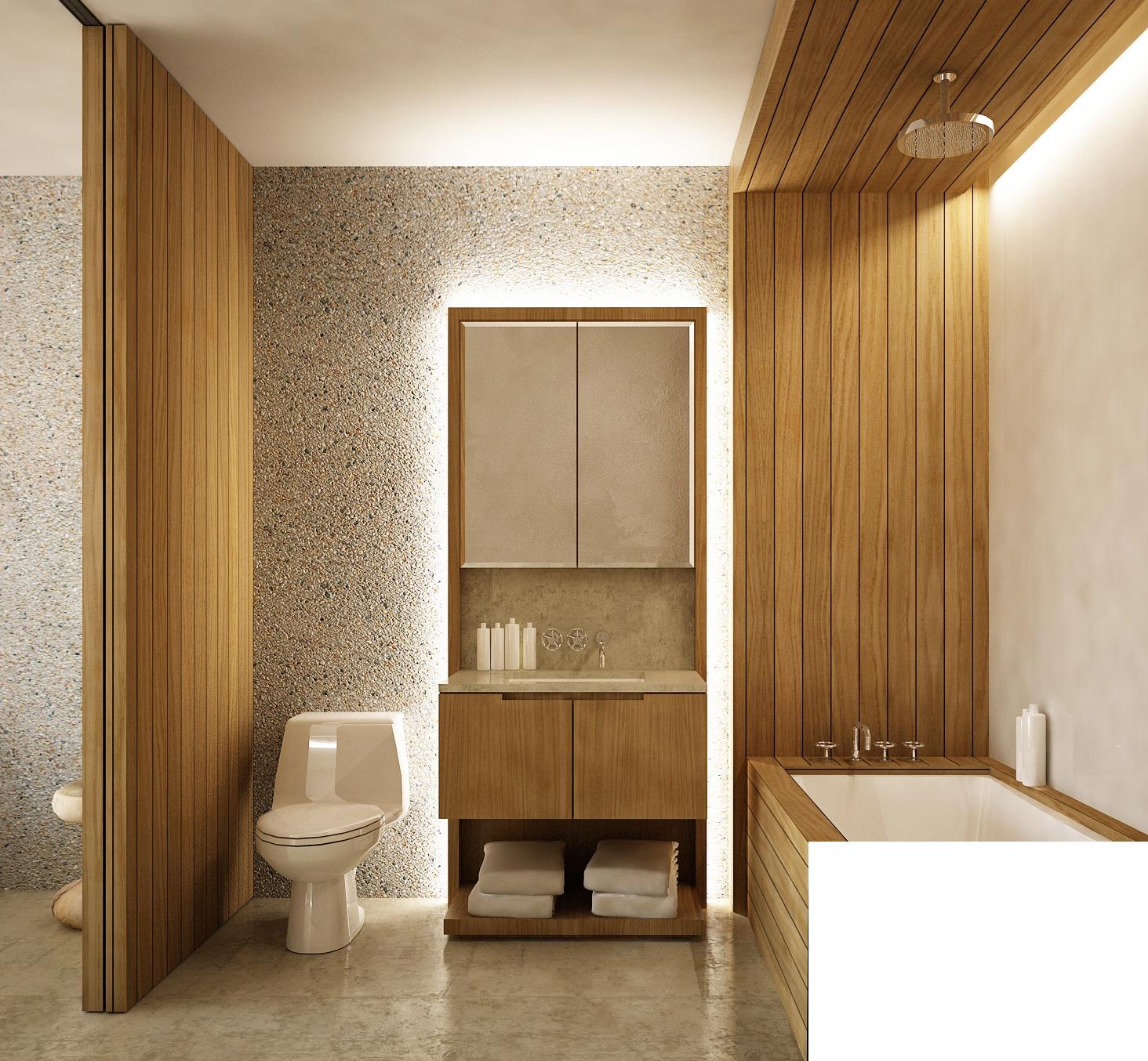 Sochi Olympic Village Master Bathroom Rendering Sink and Bathtub