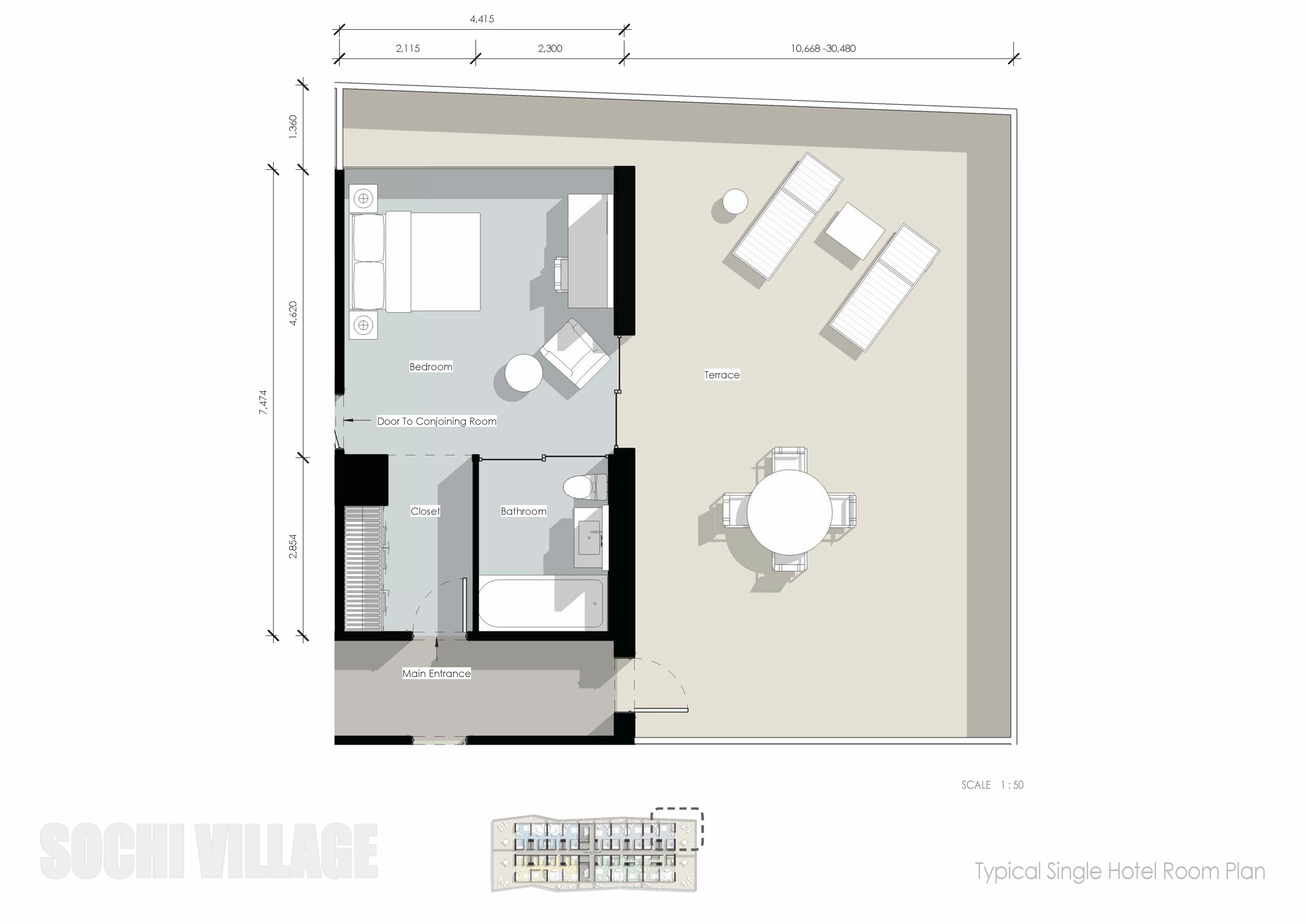 Sochi Olympic Village Typical Single Hotel Room Plan