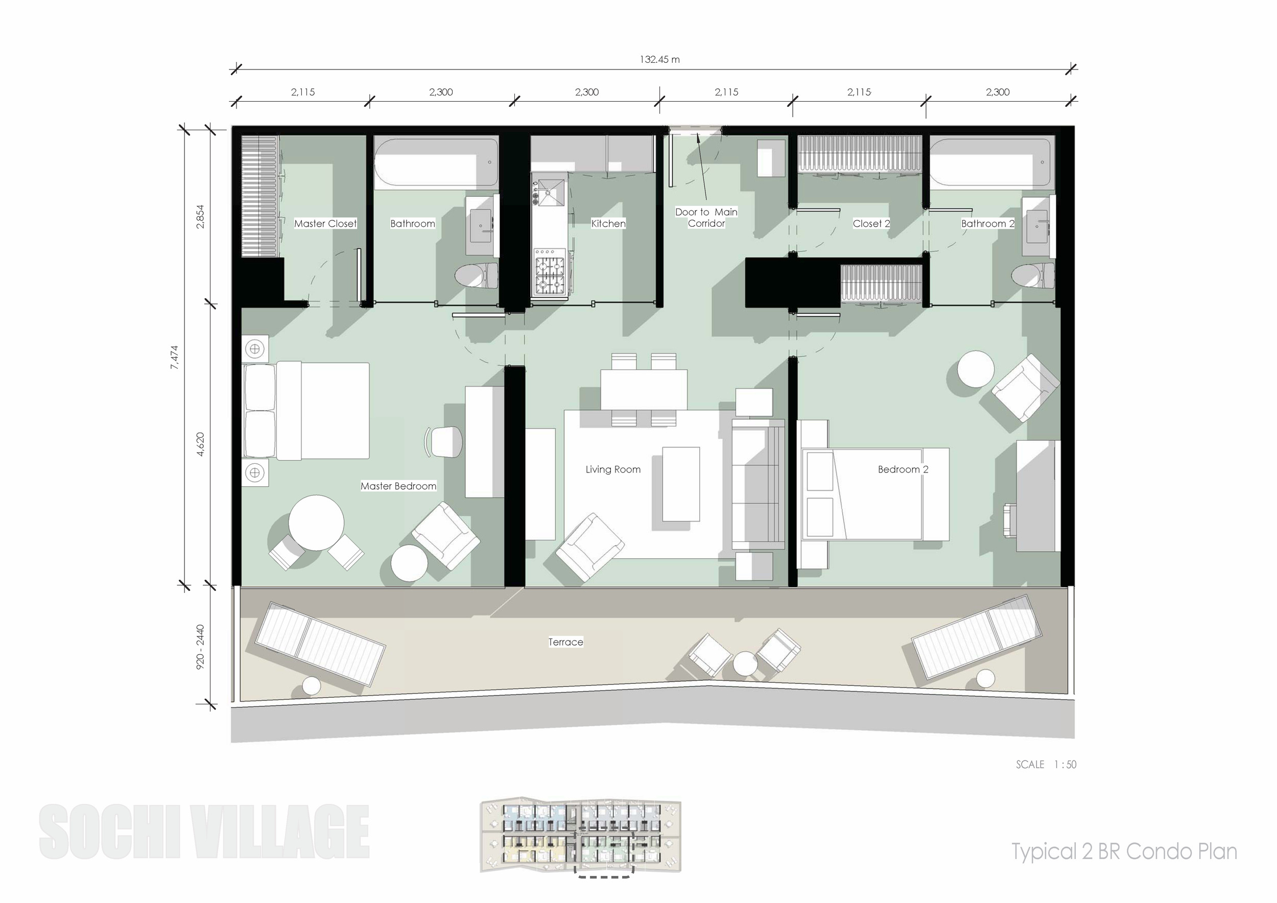 Sochi Olympic Village Typical 2 Bedroom Condo Plan