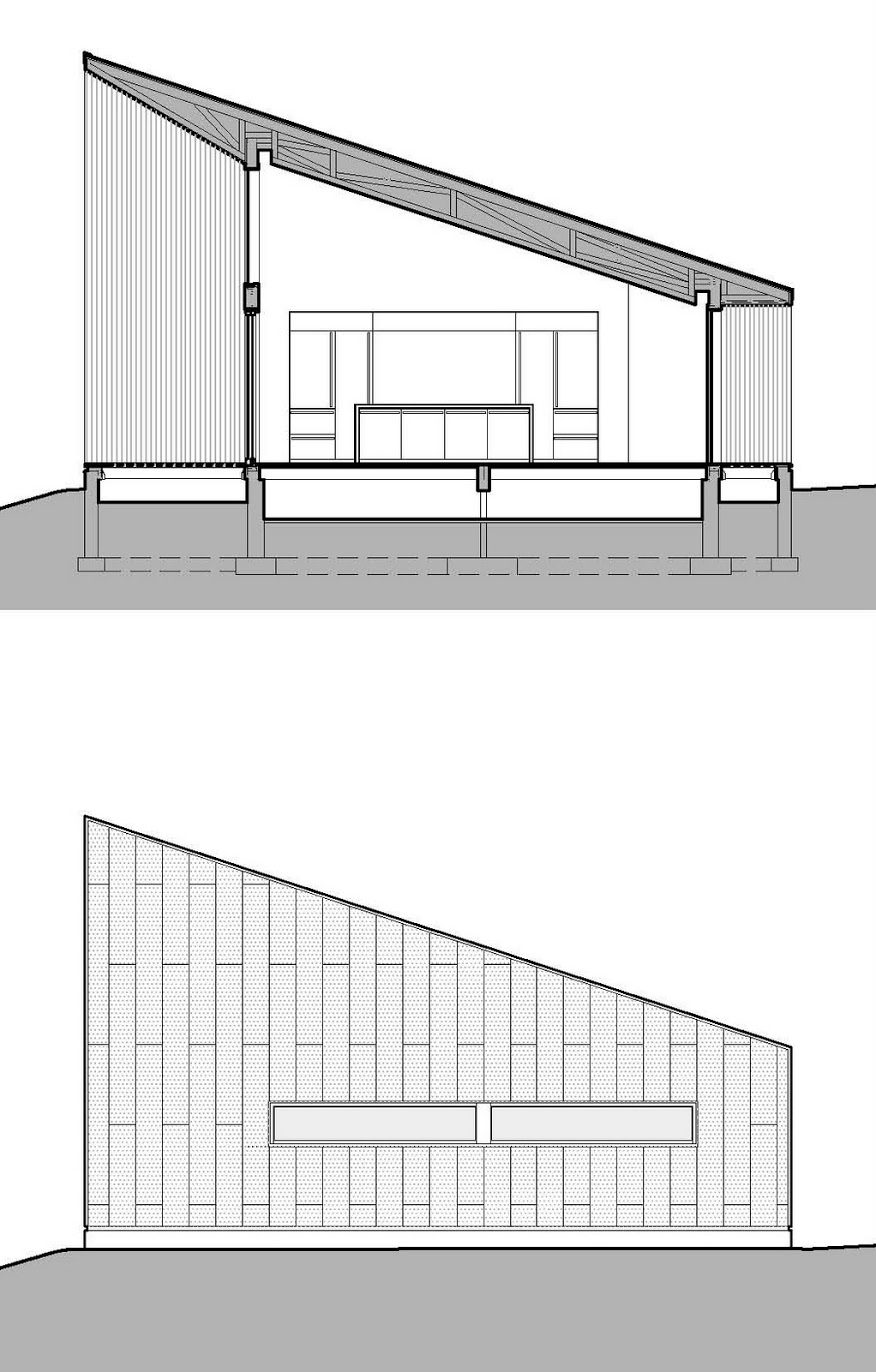 Texas Hill House Elevation and Section Plans