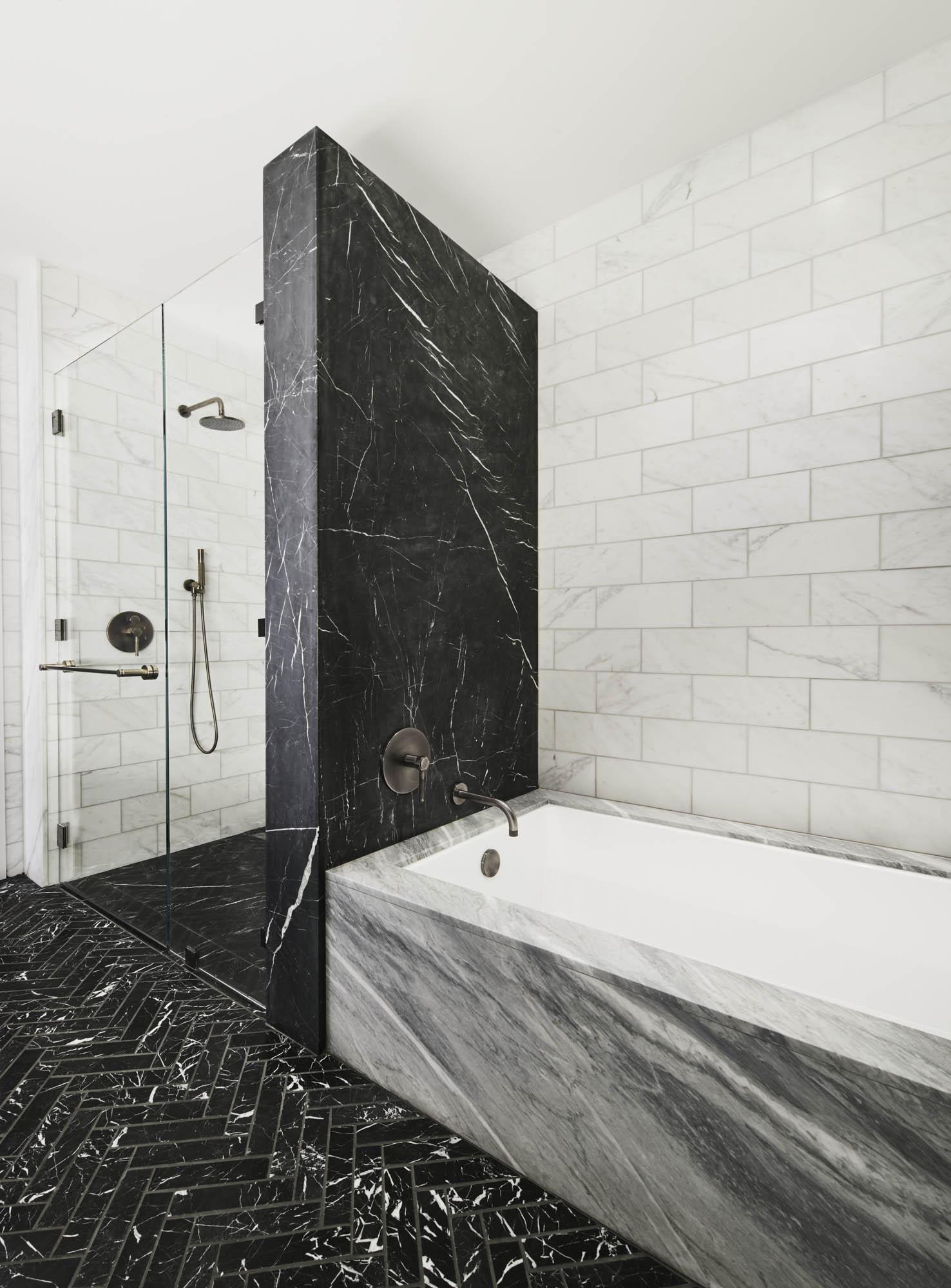The Sutton Condominium Sales Office Master Bathroom Tub and Shower