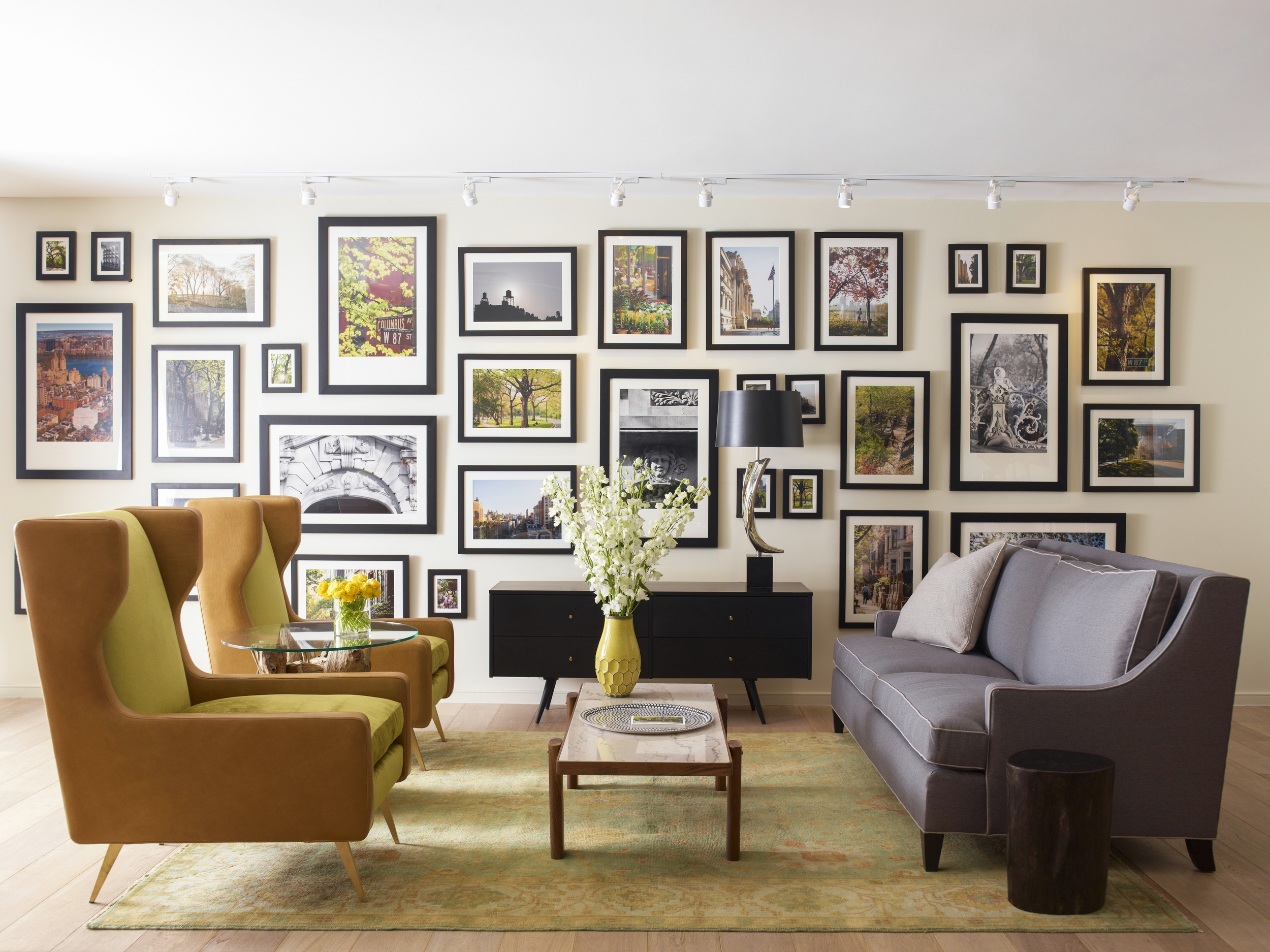 101 W 87th Street Living Room with Gallery Wall