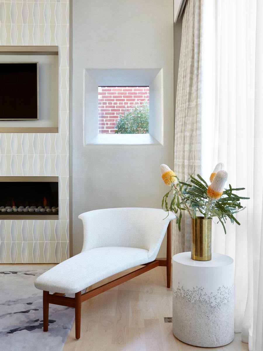 18th Street Triplex Master Bedroom Fireplace and Corner Window