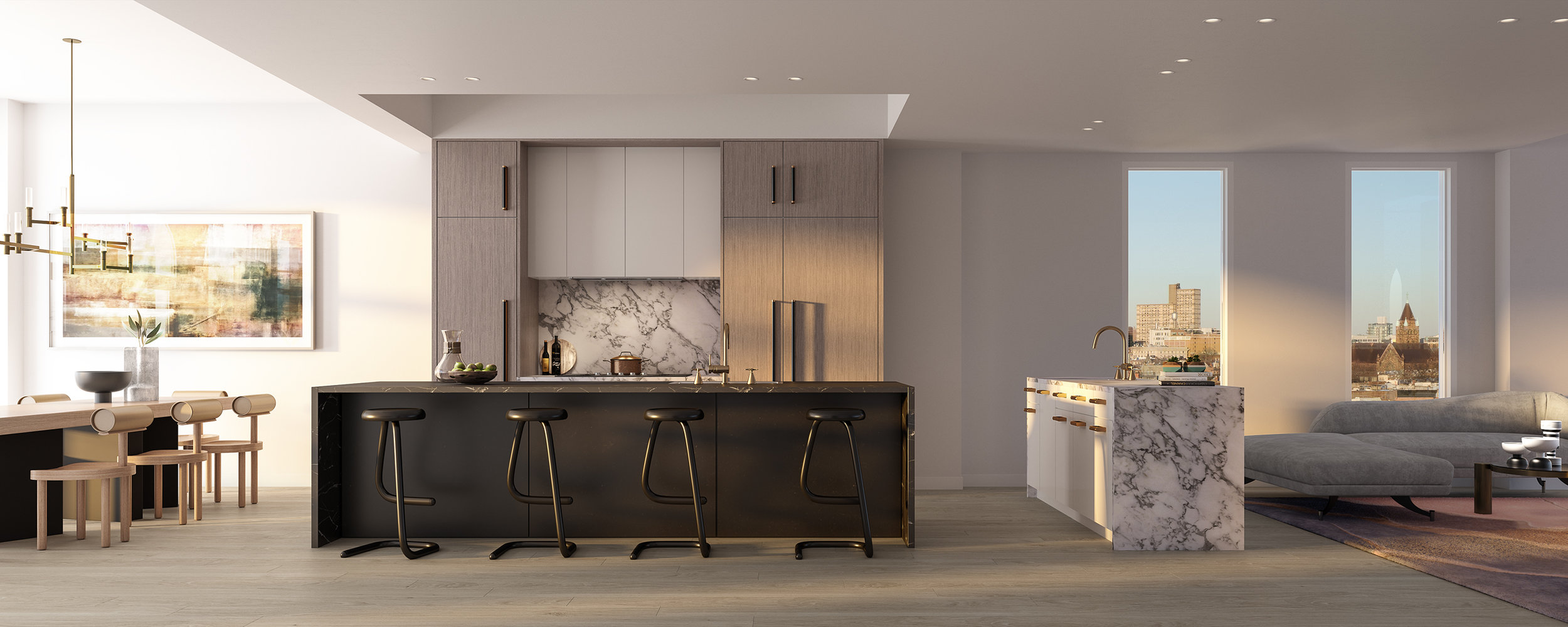 Parlour Brooklyn Penthouse Kitchen and Dining Rendering
