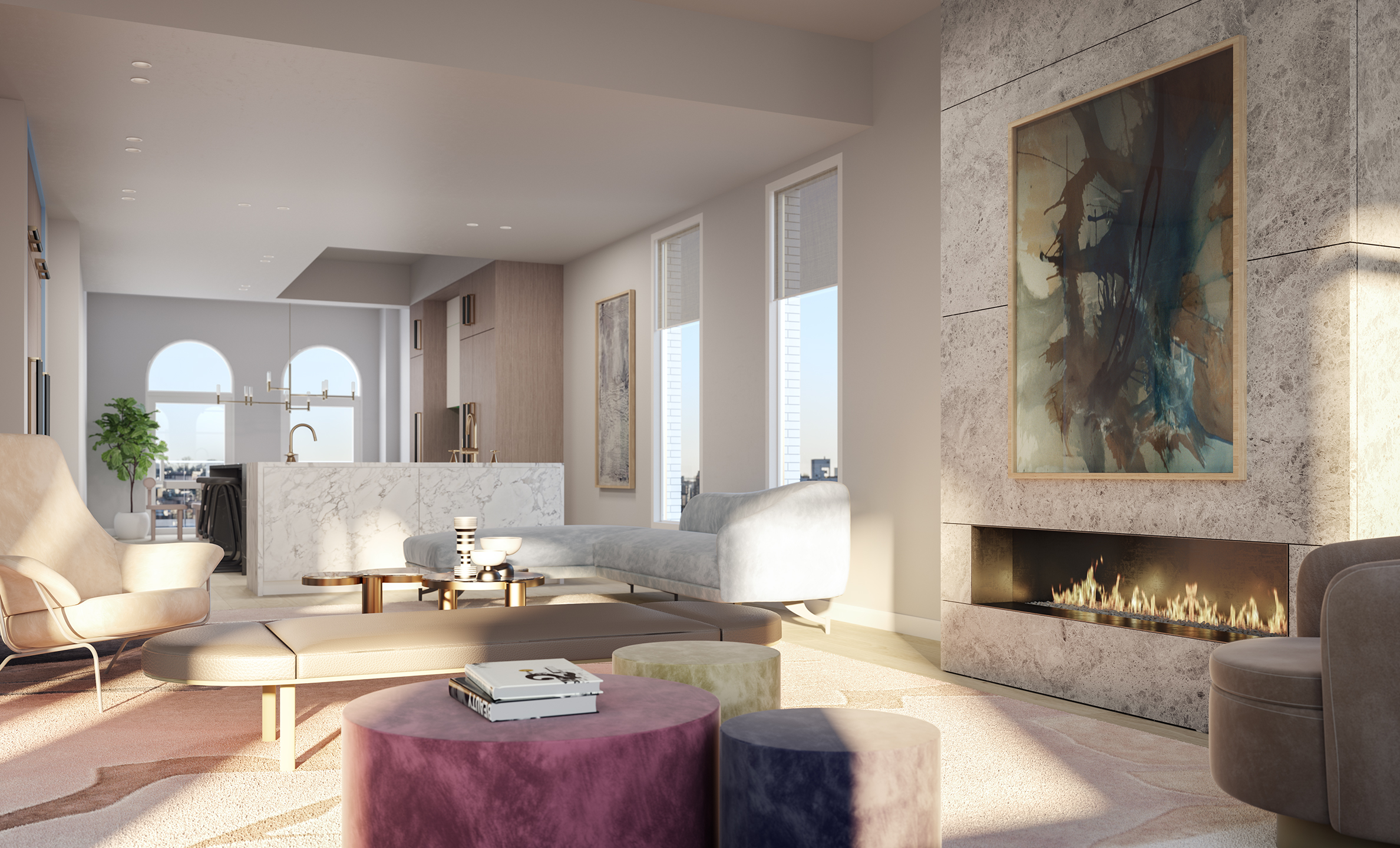Parlour Brooklyn Penthouse Living Room Rendering