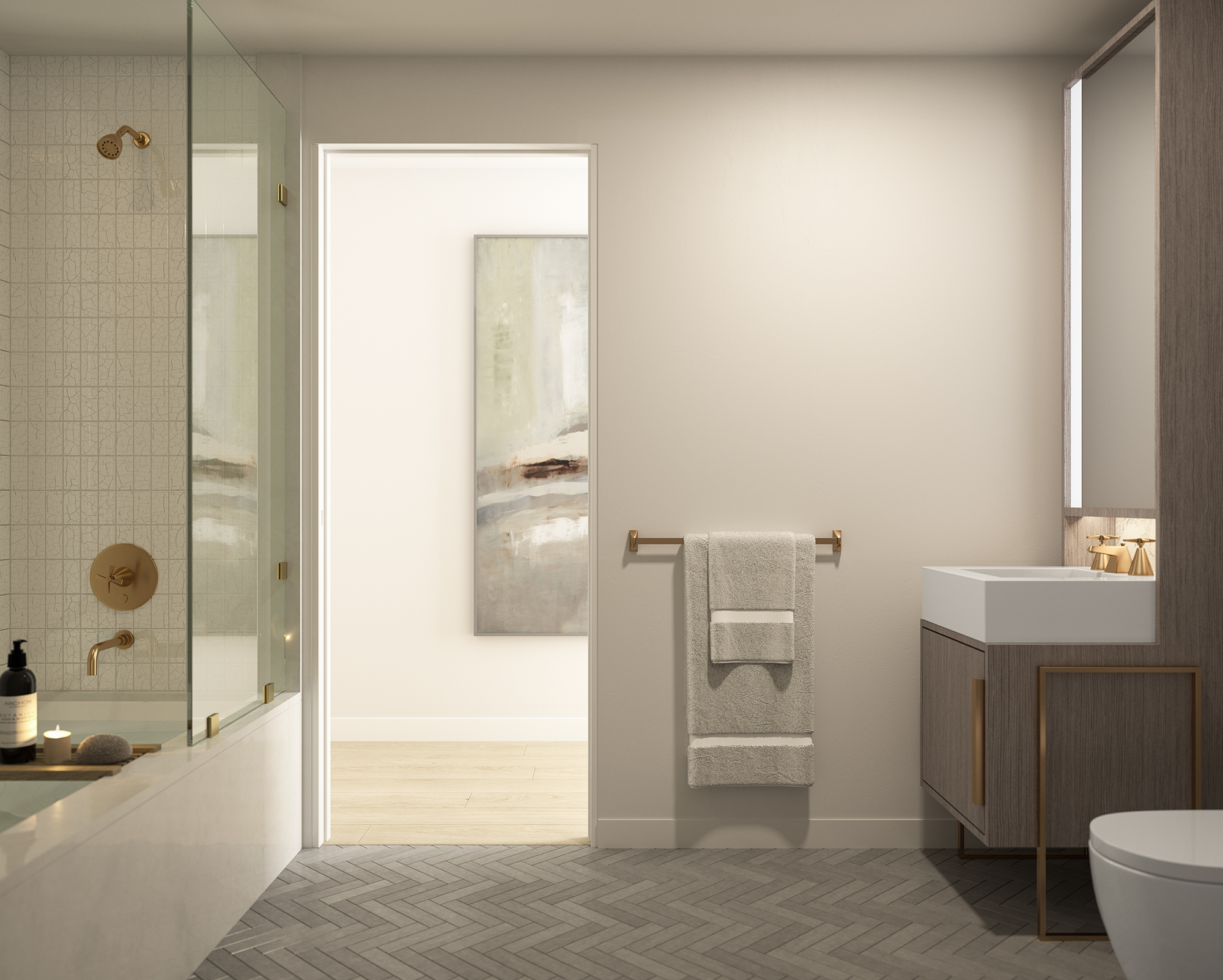 Parlour Brooklyn Secondary Bathroom Rendering