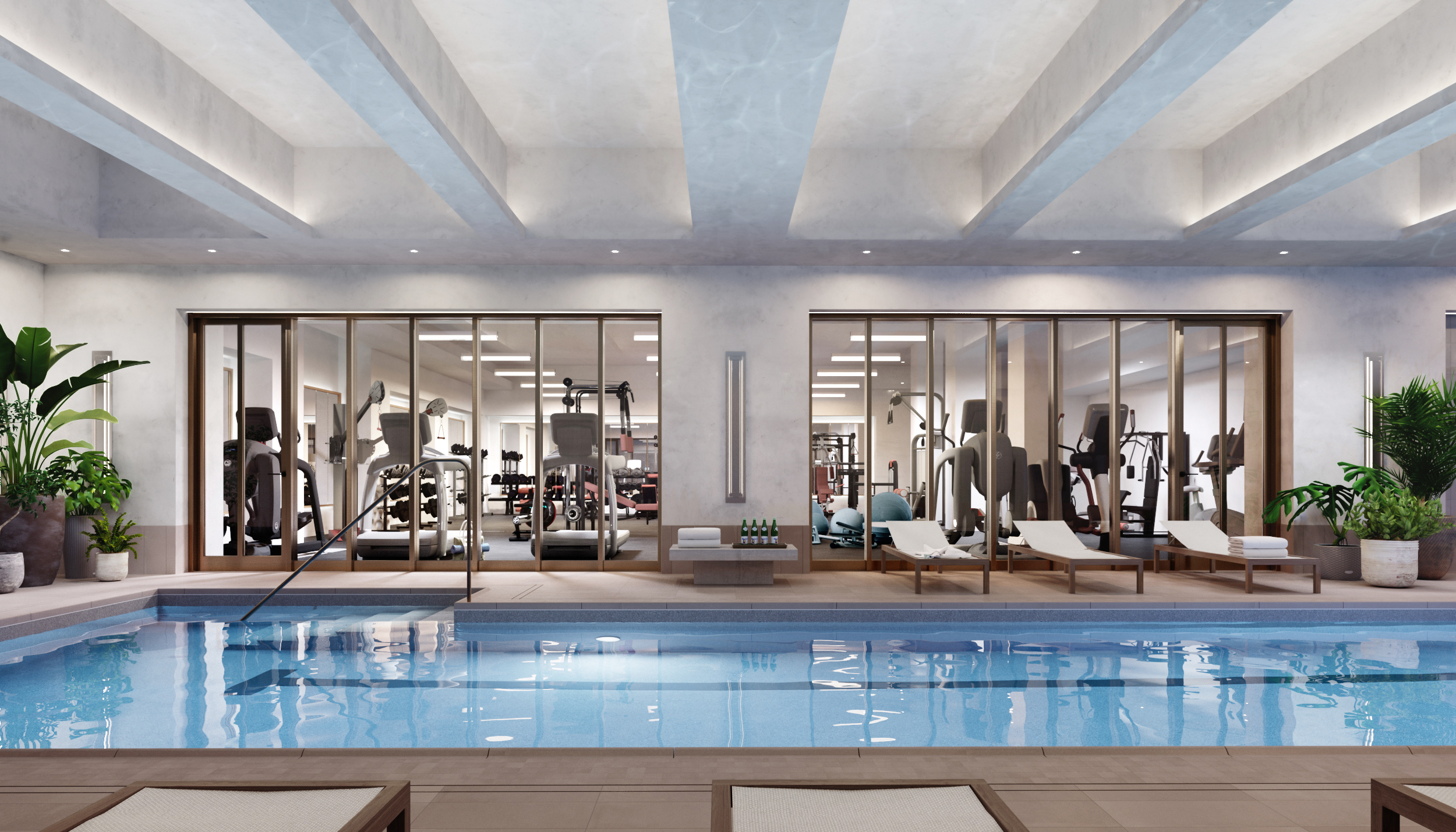 Vandewater Fitness Room and Pool Rendering