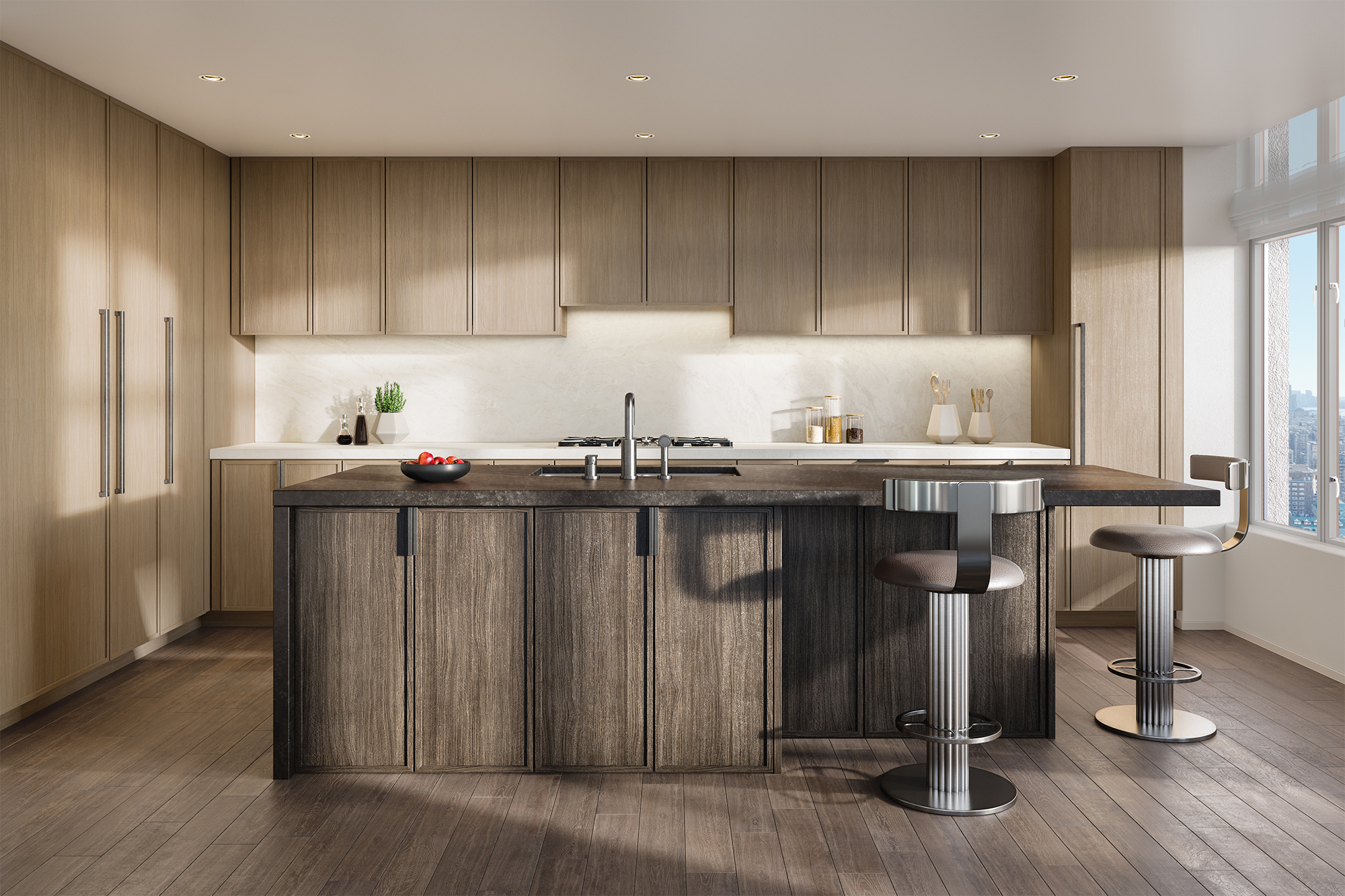 Vandewater Kitchen with Dark Finish Rendering