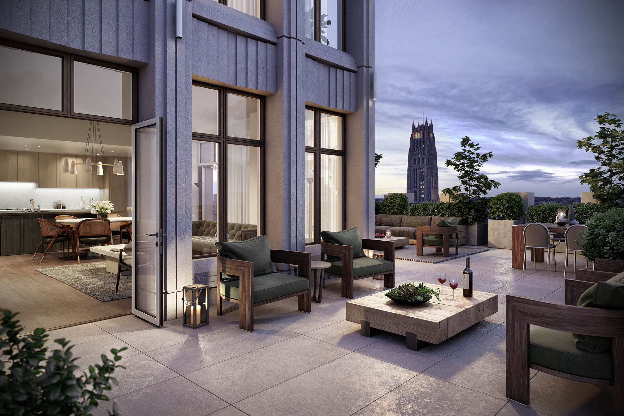 Vandewater Living Room Terrace Rendering