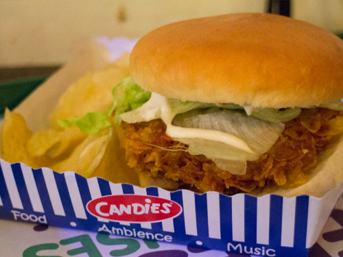 Crispy Chicken Burger at Candies