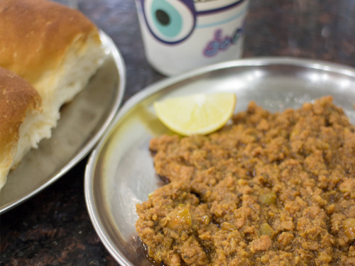 Kheema Pav at Good Luck Cafe