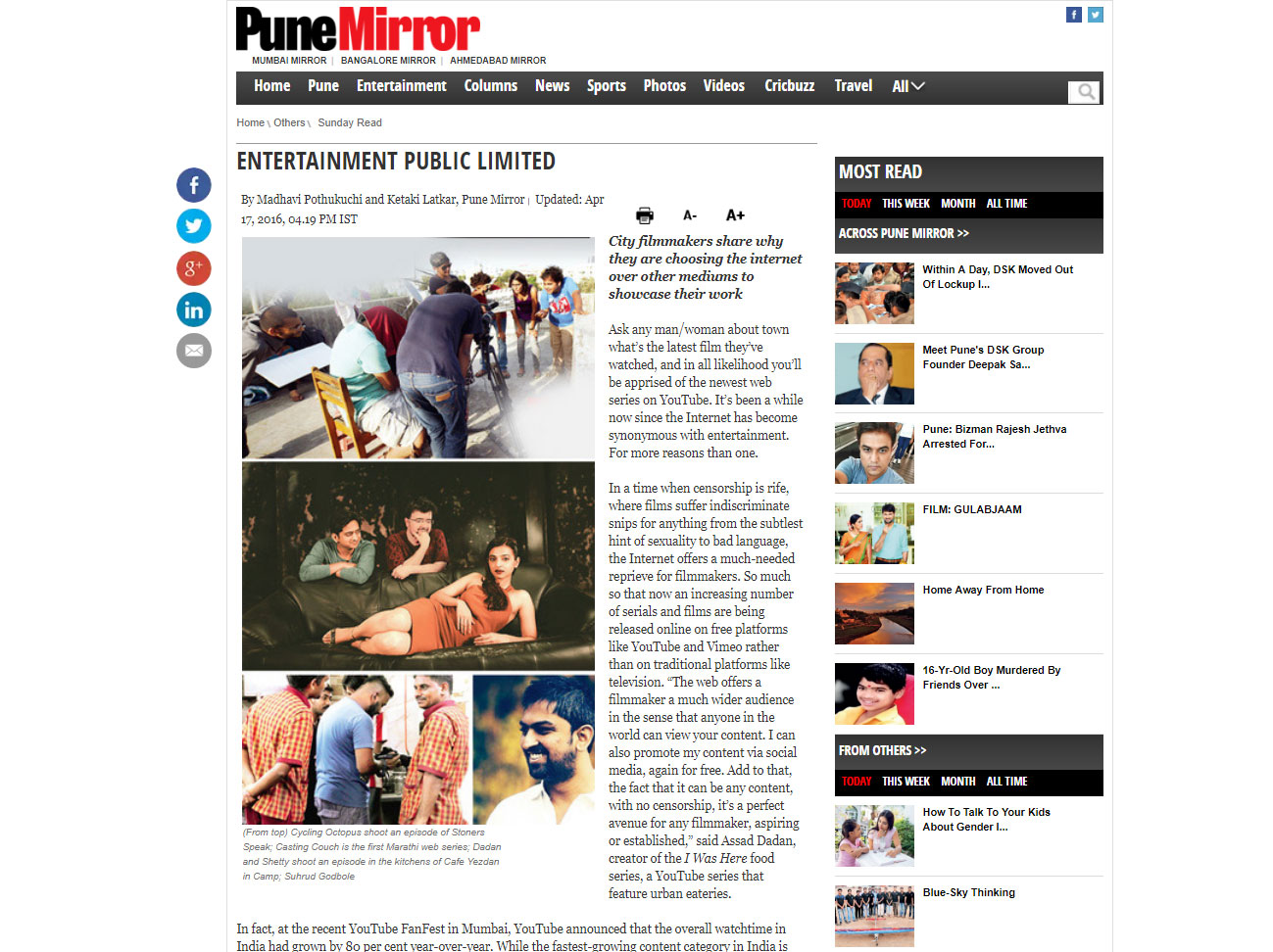 Publication:  Pune Mirror | April 17, 2016