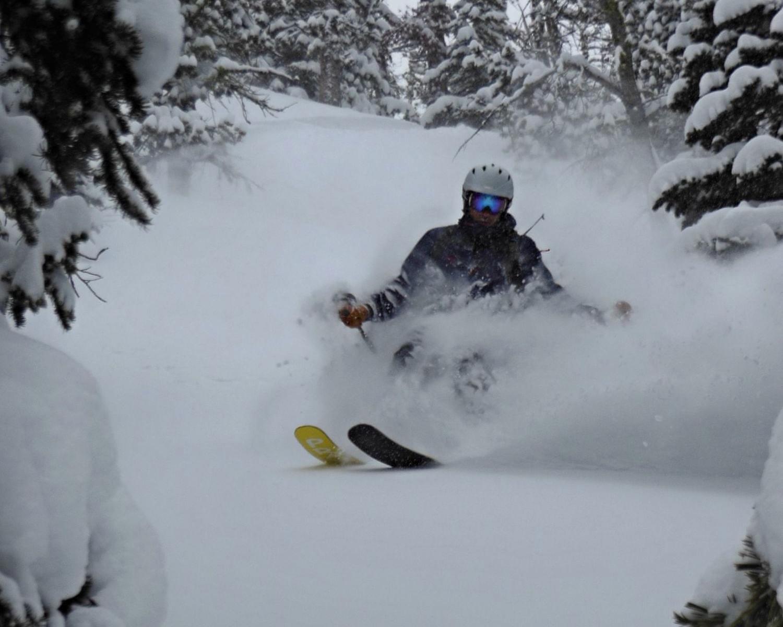 DEEP powder skiing at Montana's best hut.