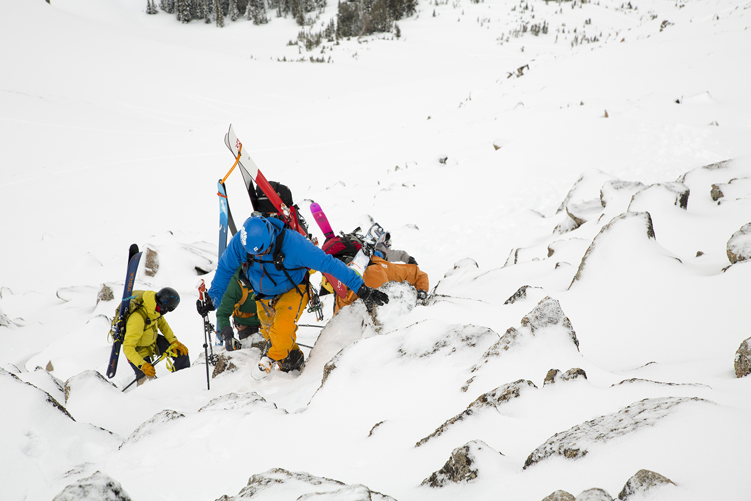 Moving through technical terrain at BLY ski mountaineering camp