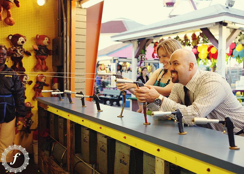 engagement photo at amusement park