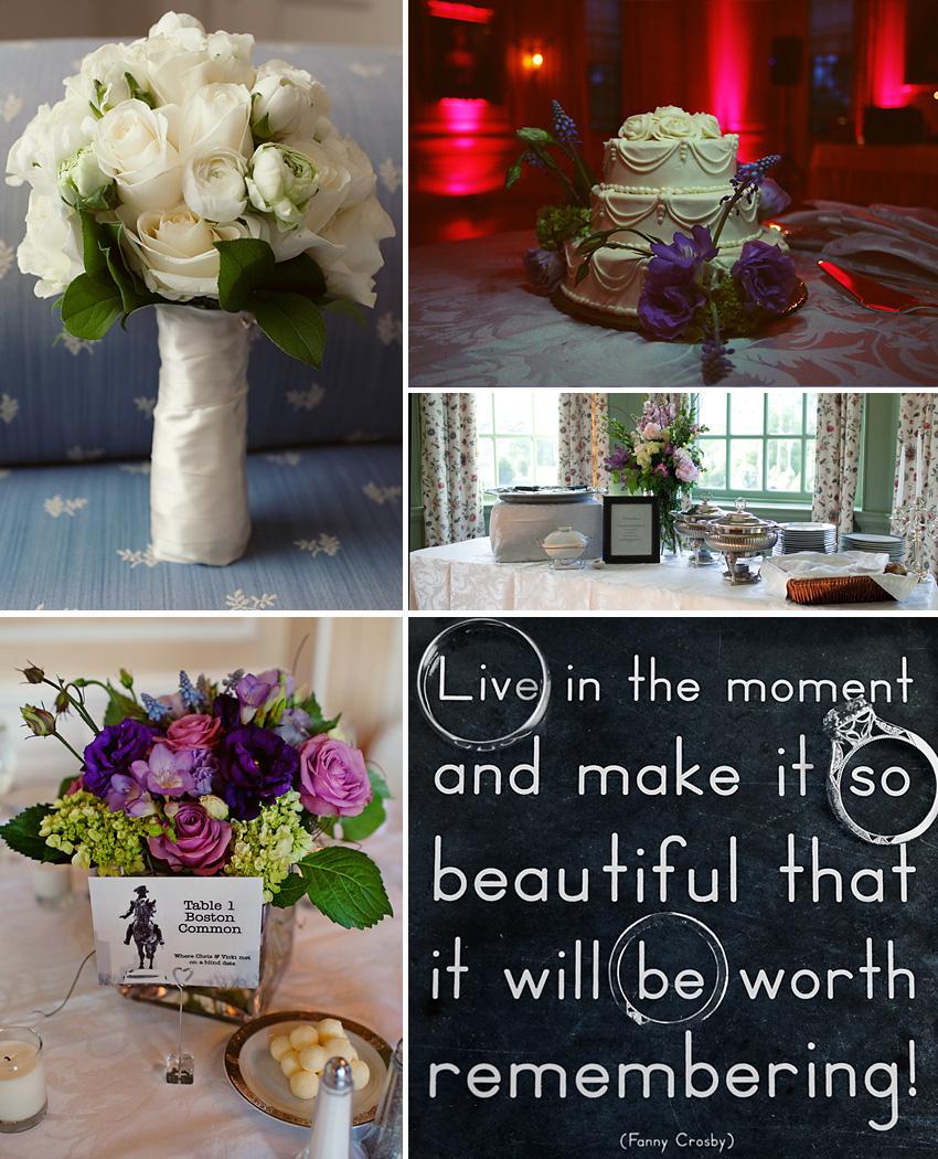wedding flowers, cake, rings