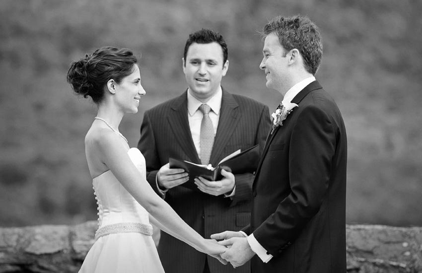 bride & groom at ceremony - Hildene Estate