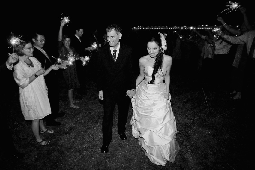 sparkler exit - maine wedding photography
