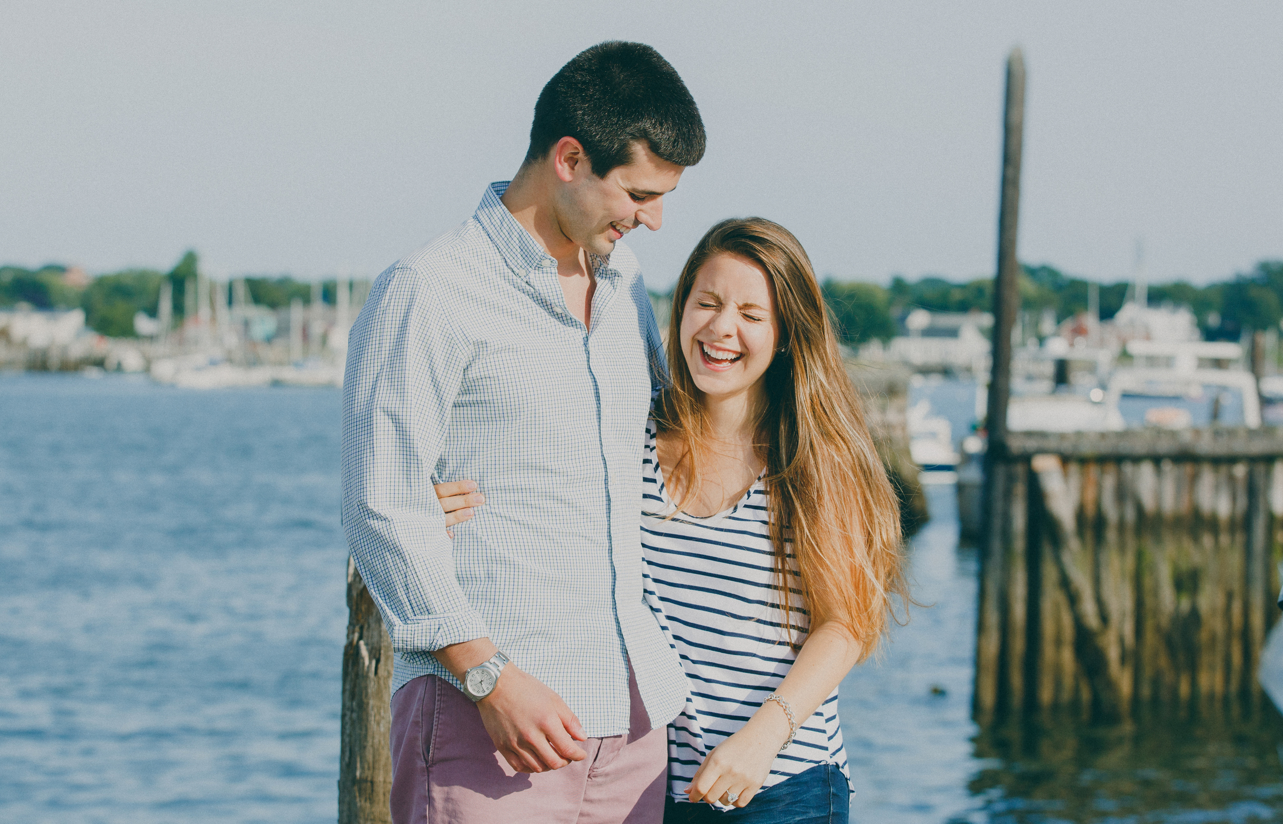 newly engaged couple in maine
