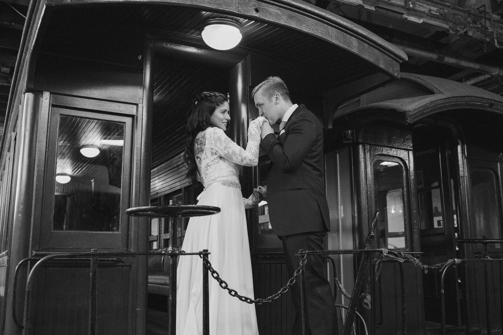 bride and groom at the narrow gauge railway in portland, maine