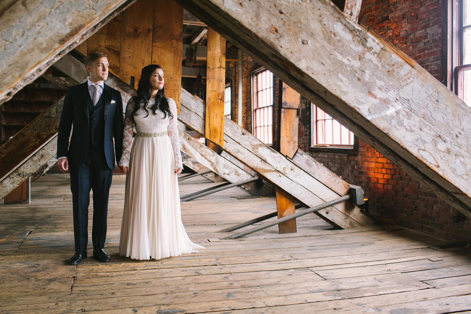 bride and groom at 58 fore in portland maine