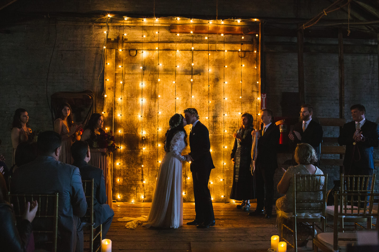 warehouse wedding with lighting by the event light pros in maine