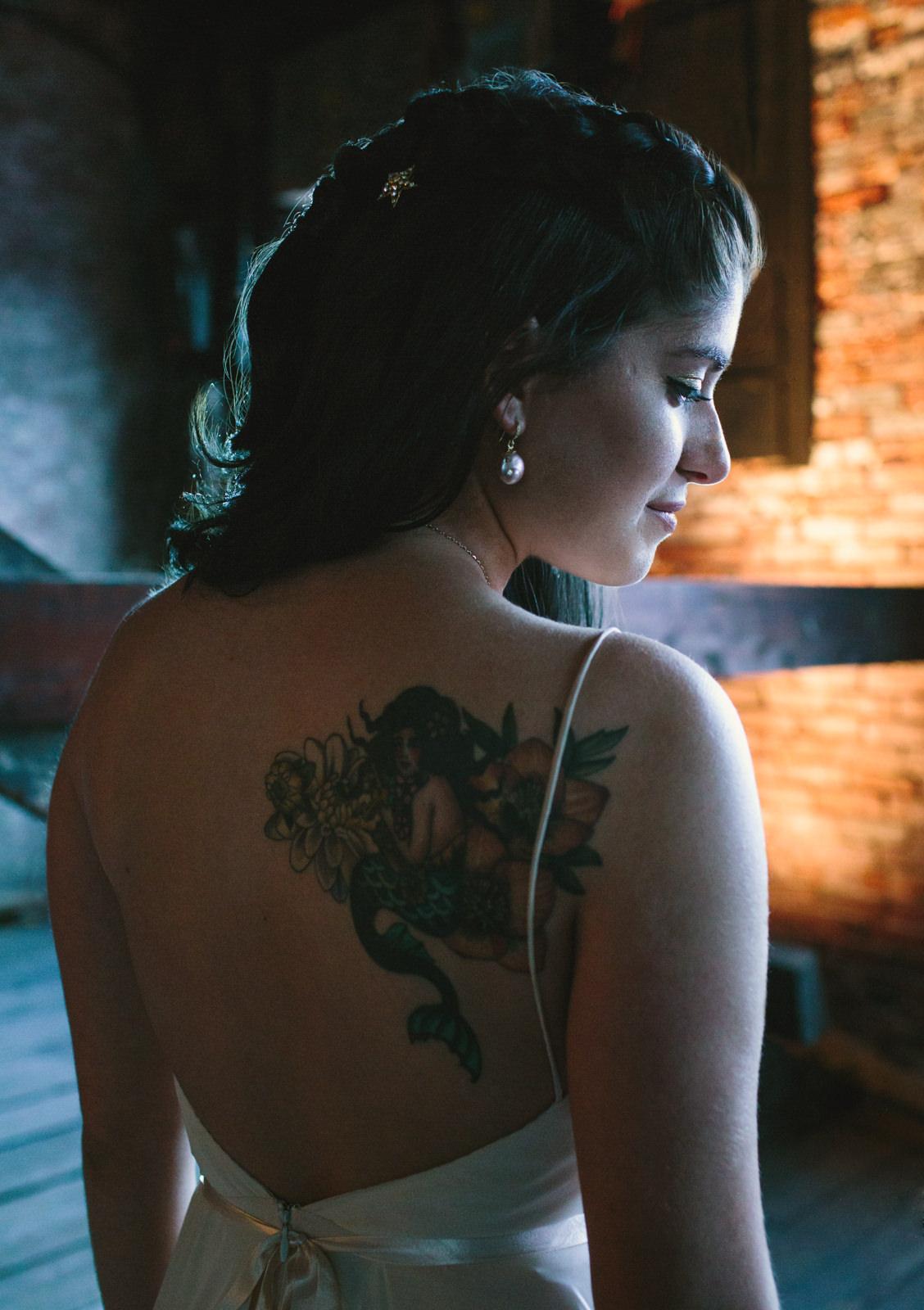 beautiful tattoed bride in portland, maine