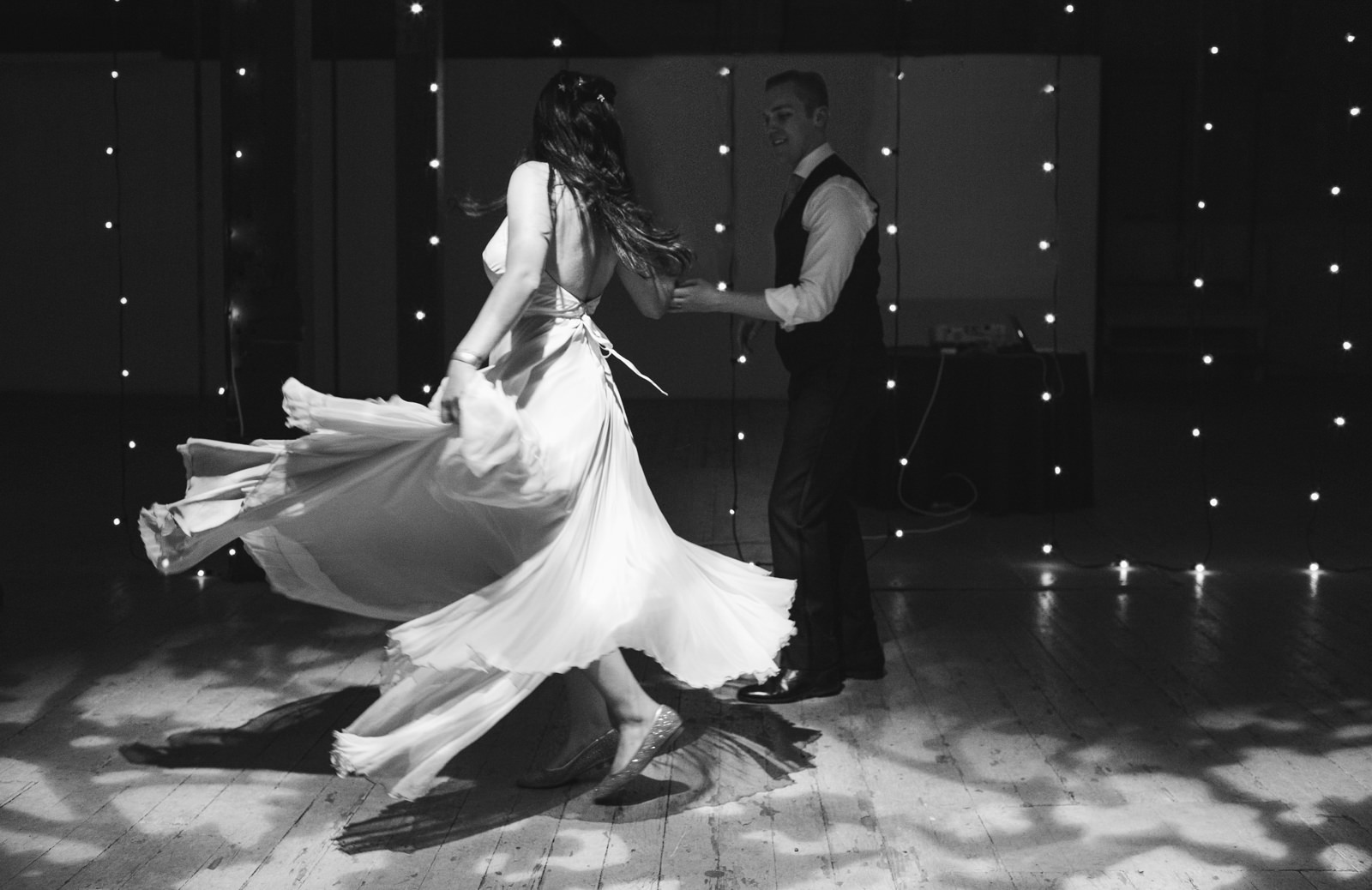 a bride and groom's dramatic first dance at their wedding in portland