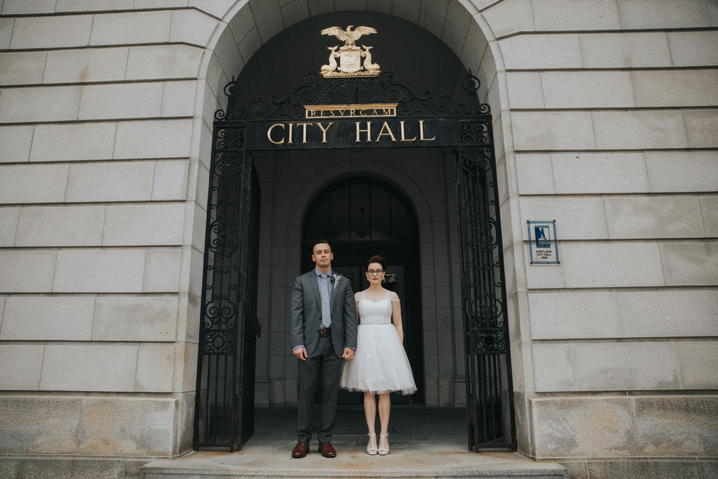 Portland, Maine City Hall bride and groom after eloping