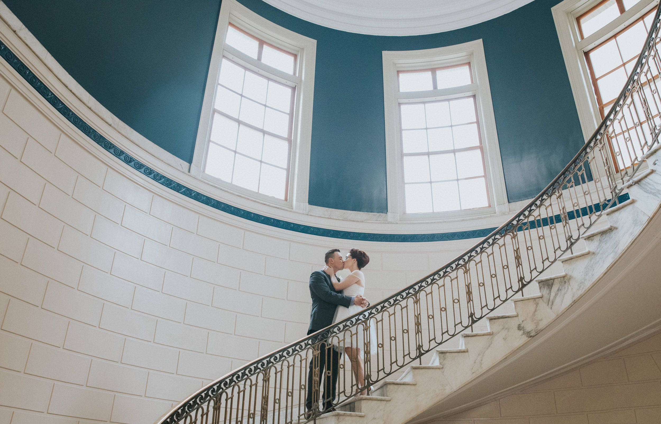a couple in portland maine's city hall after getting married
