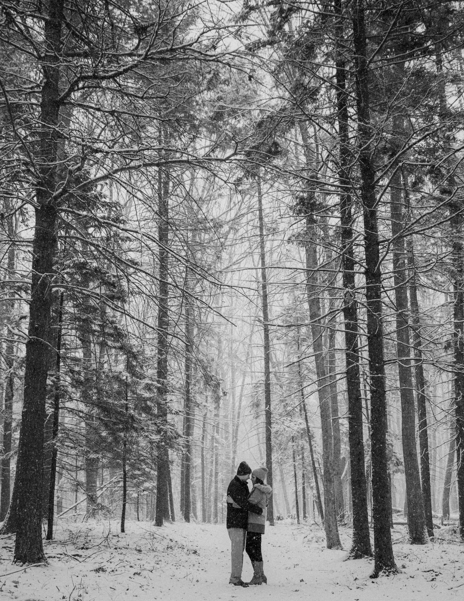 A wintery engagement session in the Maine woods