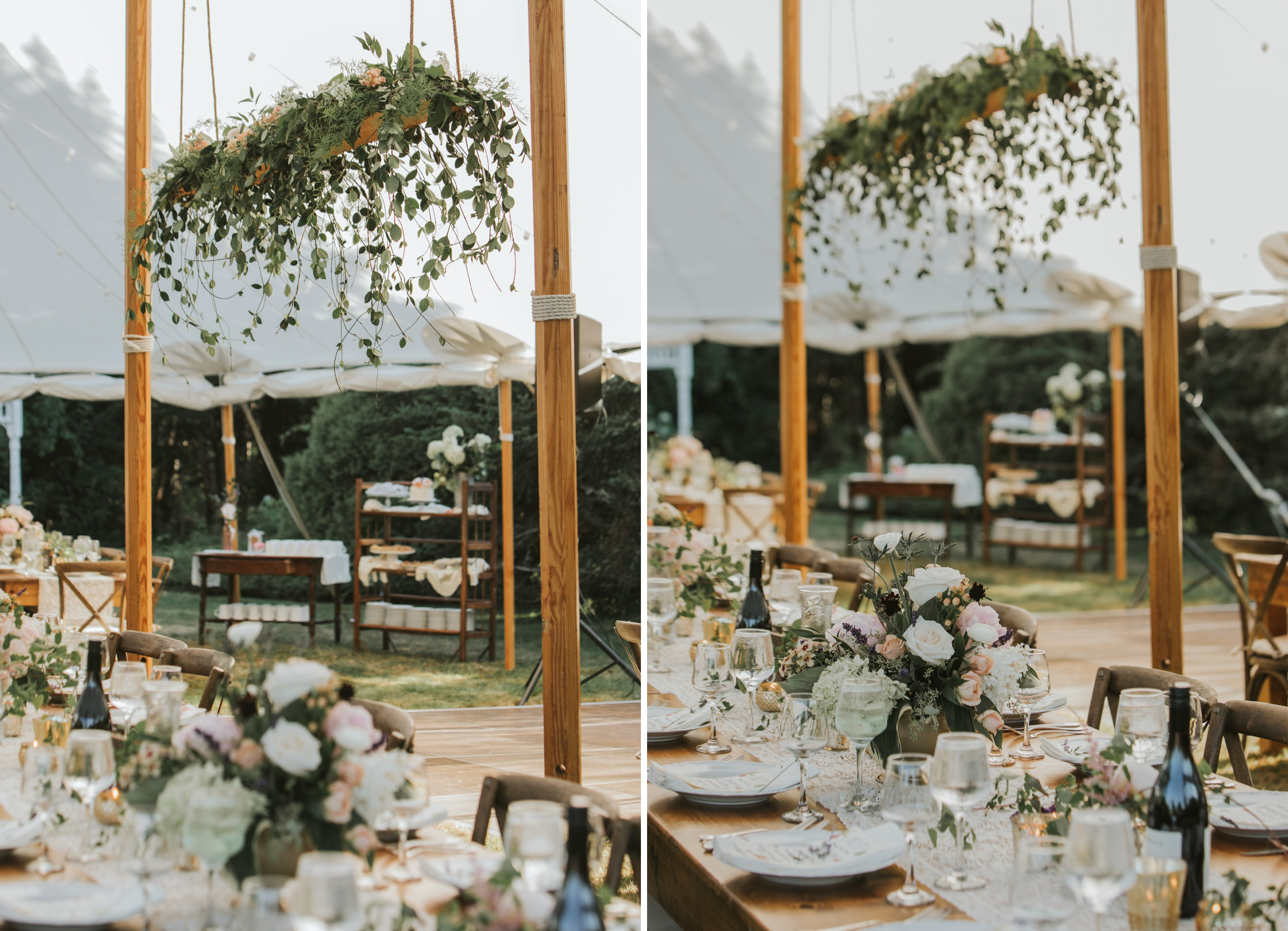 Table and floral details at wedding reception
