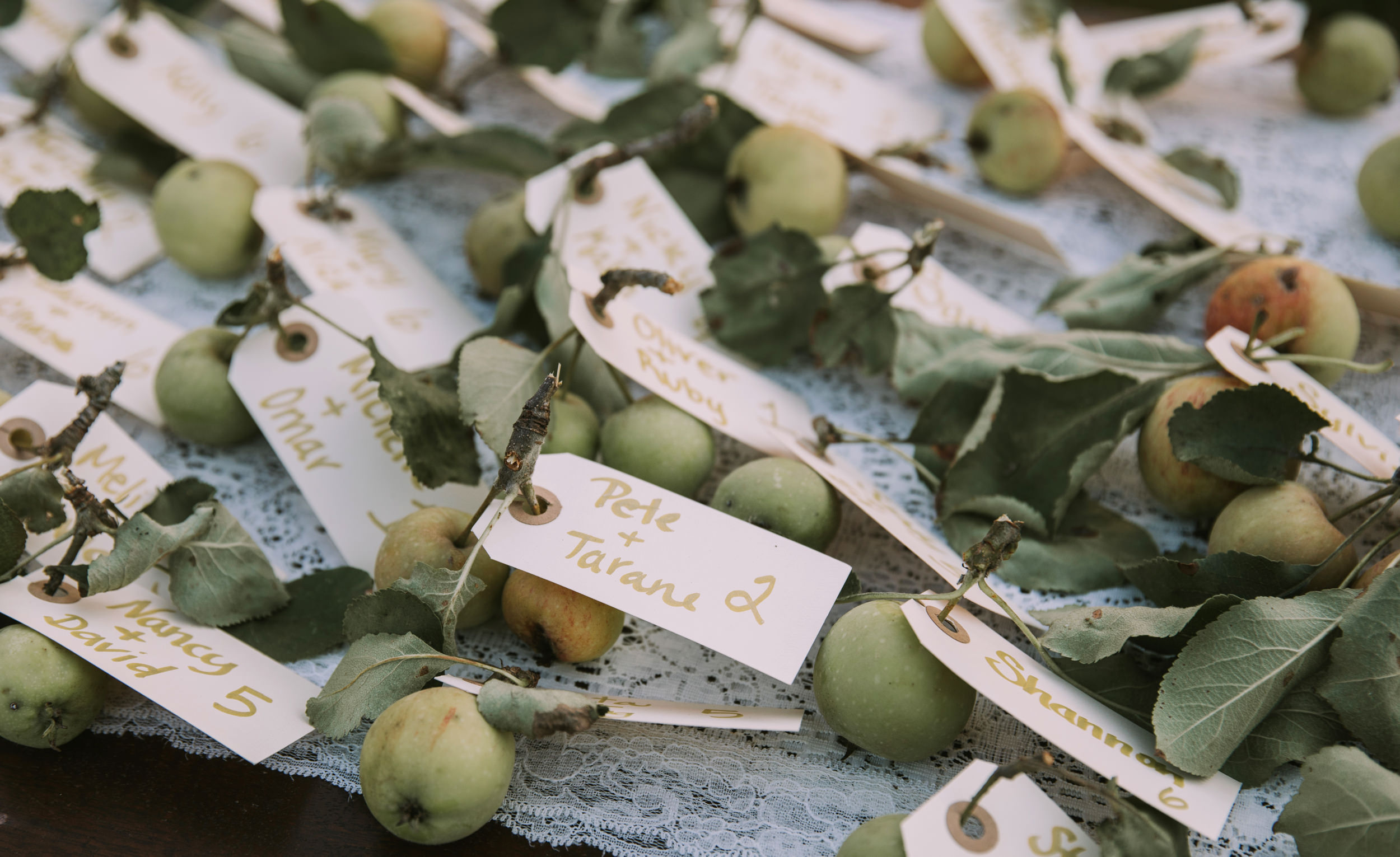 Name tags on apples at a wedding reception