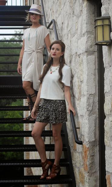Hat: Eric Javits, Dress: Halston Heritage, Shoes: Steve Madden / Top & Shorts:Trina Turk