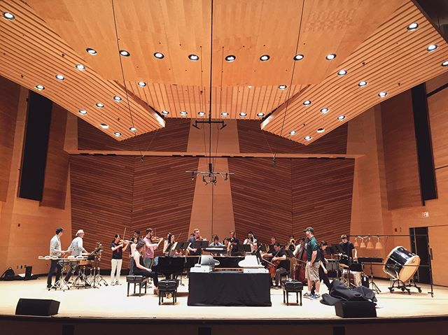 """Dress rehearsal of Donald Crockett's """"And the River,"""" a concerto for piano four-hands and toy pianos! 🌟 Concert at 4:30 PM @aspenmusicfest! 🎉"""
